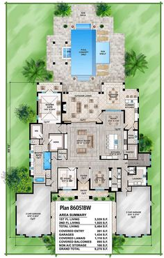 Spacious Tropical House Plan - 86051BW | 1st Floor Master Suite, 2nd Floor Laundry, 2nd Floor Master Suite, Butler Walk-in Pantry, CAD Available, Den-Office-Library-Study, Elevator, Florida, Luxury, Media-Game-Home Theater, PDF, Photo Gallery, Premium Collection, Southern | Architectural Designs