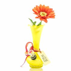"""Buttercup"" is a cheery yellow glass vase turned bong. She's sure to brighten up any room! Shop unique My Bud Vase bongs on MMJCO.COM now! #missmaryjane #missmaryjanegirls #missmaryjaneco #mmjco #mybudvase #bongvase"