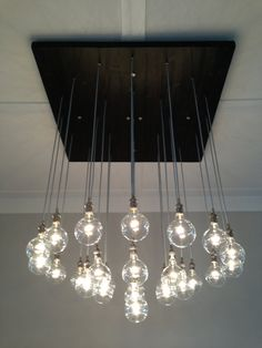 Custom Industrial Chandelier with Modern Glass by PolitelyBlunt, $3500.00