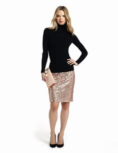 #festivefaves. Perfect for the office party. The Limited - Sequin Pencil Skirt and Ribbed Turtleneck