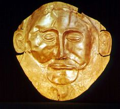 """""""Mask of Agamemnon"""" (c1500 BC) found in shaft tomb at Mycenae. repoussé gold. National Museum, Athens"""