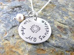 You are my Sunshine   Hand Stamped Necklace  Sterling by AoDesigns, $45.00