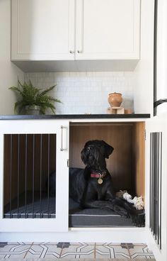 Integrated Dog Crate in Custom Cabinetry in the Laundry Room livingrooms Mudroom Laundry Room, Laundry Room Design, Diy Dog Crate, Dog Spaces, Interior Desing, Dog Area, Dog Rooms, Custom Cabinetry, Dog Houses