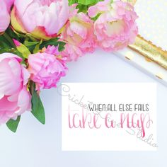 """Handlettered Art Motivation """"When all else fails, take a nap"""" print, home decor, wall art, gallery wall, pink ombre, pink watercolor"""