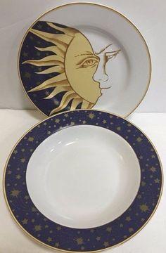 Tabletrendz Sakura Lumina Stars Sun & Moon Face Stoneware 2 Piece Dinnerware Set