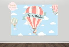 Up Up and Away Backdrop, Hot Air Balloon Backdrop, Baby Shower, First Birthday, Printable Backdrop, Birthday Party, Printable, Balloon
