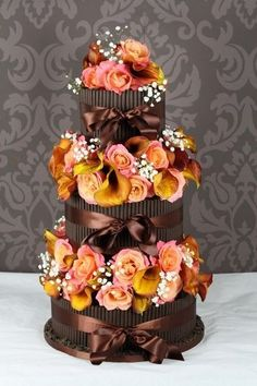 beautiful cigarillo wedding cake fall colors seasonal cake