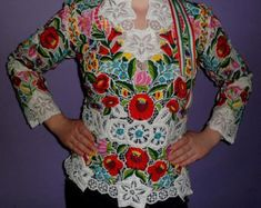 Hungarian Richelieu Lace Hand Embroidered Folk Art Women Top/ Size: All Hungarian Embroidery, Folk Costume, Costumes, Fashion Now, Famous Celebrities, Embroidered Lace, Pure Products, Silk, Clothes For Women