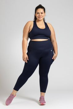 Smart Pocket 7/8 Length Tight - Navy – Active Truth™ Tights, Leggings, Perfect Fit, Pockets, Crop Tops, Navy, Model, How To Wear, Collection