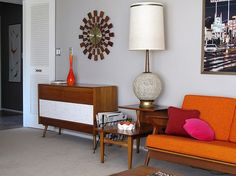 Mid century house. So reminds me of Grandmother's apartment way back when. And our first couch was orange!