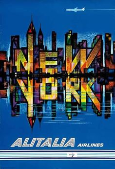 Vintage Travel Poster New York by Alitalia