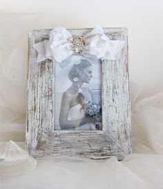 Wedding Weathered White Picture Frame Bow & Silver Jewel.