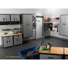 Garage Workshop Plans, Garage Workshop Organization, Garage Tool Storage, Organization Ideas, Workshop Ideas, Garage Wall Cabinets, Painted Garage Walls, Garage Lockers, Pegboard Garage