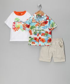 Take a look at this White 'Pacific Island' Shorts Set - Infant & Toddler by Boys Rock on #zulily today!