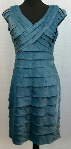 2801c963601c London Times Petite Shiny Blue Teal Tiered Dress - Size 10P - VGC