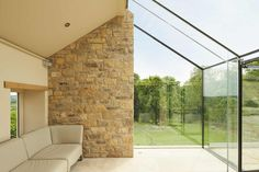 Structural glass box to this old farmhouse in Yorkshire. The glass box was designed to so it split the old farmhouse in half and create a striking feature to the property. House Extension Design, Glass Extension, House Design, Cottage Extension, Modern Glass House, Box Architecture, Old Stone Houses, Modern Farmhouse Exterior, House Extensions