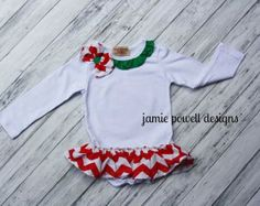Christmas Onesie- Body Suit- Chevron tutu- White Onesie with chevron Bow and ruffle Skirt-Baby's 1st Christmas- Toddler Christmas outfit