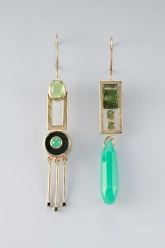 Janis Kerman Design - earrings - 18KT, PERIDOT, TOURMALINE, CRYPSOPRASE, BLACK DIAMOND