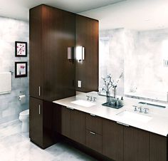 A Dual Sink Vanity is a larger cabinet or group of cabinets that share a countertop and have 2 sinks in the top. (Maxwell Place, NJ, Toll Brothers City Living)