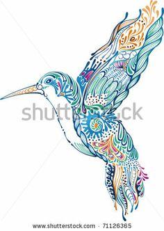 hummingbird drawing heart | Tribal Hummingbird And Hibiscus Tattoo Royalty Free Stock Vector Art