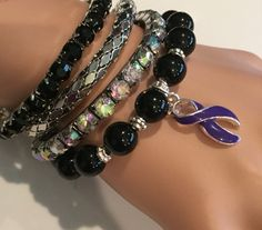 Purple Violet Ribbon bracelet - Hodgkins Hodgkin's Lymphoma Disease Survivor /Awareness Jewelry Craniosynstosis - Stack of Bracelets by RockYourCauseJewelry on Etsy