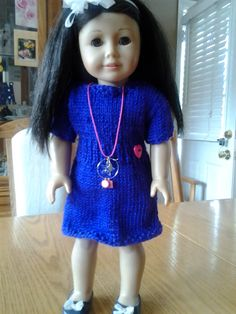 Ravelry: Knitted Dress for American Girl Doll free pattern by Ann Saglimbene Knitting Dolls Clothes, Ag Doll Clothes, Crochet Doll Clothes, Knitted Dolls, Doll Clothes Patterns, Doll Patterns, Knitting Patterns, Free Knitting, Crochet Patterns