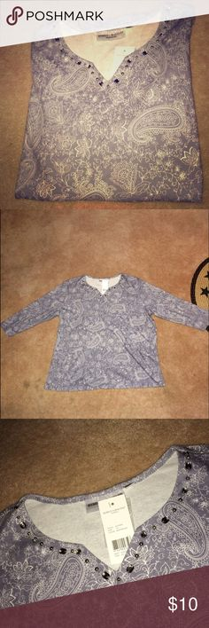 Rebecca Malone Top 3/4 sleeve Rebecca Malone embellished neck line top. Paisley print with just enough bling! Selling for my mom. Size: 1X. Make an offer or bundle! Rebecca Malone Tops Tees - Long Sleeve