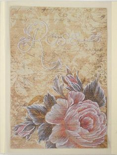 Texture Painted Rose Greeting Card with Raised Text - SOLD!