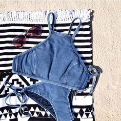 @klarabellle is ready for a weekend at the beach in the new Deja Blue high neck tank & brazilian pant!  { shop the link in our bio } #