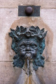 Paris, October Water fountain with ugly head crowned with wreath of leaves. Garden Fountains, Water Fountains, Outdoor Fountains, Garden Ponds, Koi Ponds, Paris, Water Spout, Sound Of Rain, Water Features In The Garden