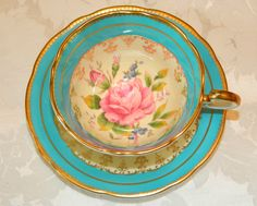 Aynsley Turquoise Pink Rose Gold Fancy TEA CUP AND Saucer SET