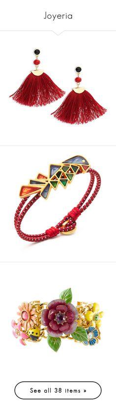 """Joyeria"" by sukia ❤ liked on Polyvore featuring jewelry, bracelets, charm jewelry, leather bangles, knot jewelry, gold tone jewelry, gold tone charms, earrings, accessories and joyas"