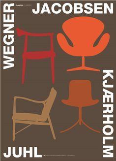 Danish poster by Kim Lynnerup - 4 classic design chairs from Wegner, Jacobsen, Kjaerholm and Juhl