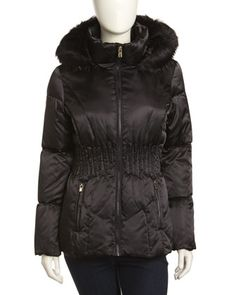 Faux-Fur-Trim Hooded Puffer Jacket, Black by Laundry by Shelli Segal at Neiman Marcus Last Call.