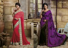 Super embroidered  border is having on beautiful raspberry color georgette material saree  AND  This violet color pallu of black georgette material saree is with  magnificent  work on saree & border