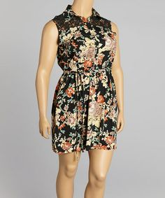 Love this Black & Pink Floral Shirt Dress by Speed Control on #zulily! #zulilyfinds