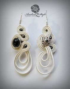 Z Style: Cercei Soutache Earrings, Ring Earrings, Embroidery Jewelry, Beaded Embroidery, Shibori, Soutache Tutorial, Ideas Joyería, Button Crafts, Hobbies And Crafts