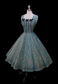 Vintage 1950s Blue Silk Metallic Roses Full Skirt Dress