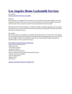 Los Angeles Home Locksmith ServicesOur Website:Quality Locksmith Contractors Los AngelesAbout Us:UAC Locksmith in Los Angeles CA is the answer to your complete…