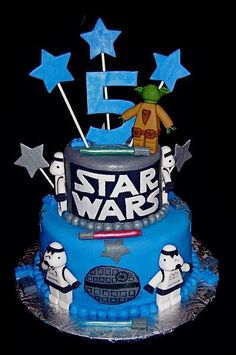2 tier Star Wars theme birthday cake with Yoda and stormtrooper for kids.JPG #EasyPin