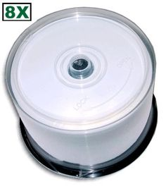 MBI 8X Double Layer 8.5 GB AQUASHIELD White Inkjet Hub Printable GLOSSY DVD+R's 45-Pak in Cakebox by MBI. $61.99. Glossy, White Inkjet Hub-Printable and Waterproof!  The double layer DVD+R medium is the newest technology breakthrough in optical discs. The advanced, single-sided disc has an amazing 8.5GB of storage capacity, enough for up to four hours of DVD-quality video, 16 hours of VHS-quality video, or over 120 hours of MP3 audio. Compatible with most current DVD ...