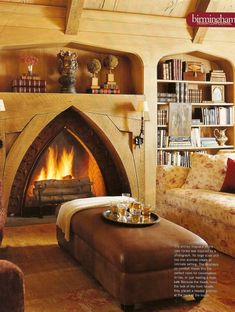 Gothic revival. Love Love Love this fireplace and the book shelves of course
