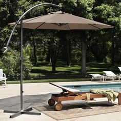 For by the pool. Back Deck, Back Patio, Umbrellas Parasols, Outdoor Umbrellas, Cantilever Umbrella, Under My Umbrella, Outdoor Furniture, Outdoor Decor, Custom Homes