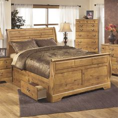 Ashley Bittersweet Wood Queen Drawer Sleigh Bed in Light Brown - B219-50-63-65-86-KIT