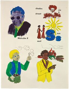 """Glenn Ligon, """"Malcolm X, Sun, Frederick Douglass, Boy with Bubbles # 3 (version 2)"""", 2001"""