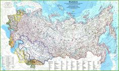 National Geographic's political map of Russia and the independent states of the former Soviet Union is one of the most authoritative maps of region. This Classic style wall map features a bright color palette with blue oceans and the country's terrain det