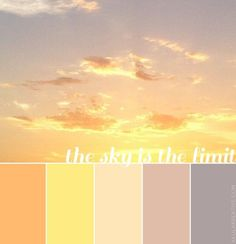 Lovely peaches, yellows, pinks, and purples // a pastel-sky-inspired color palette Bedrooms - left = oranges/yellows; right = greys Sunset Color Palette, Pink Palette, Sunset Colors, Colour Pallette, Colour Schemes, Color Combos, Color Harmony, Color Balance, Pastel Sunset