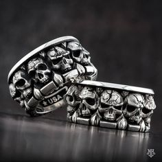 "NightRider Jewelry ""All in the Family"" Skull Rings in Sterling Silver 