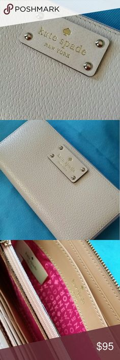 Kate Spade Wallet NWT Cream Kate Spade full size envelope style wallet with hot pink lining. kate spade Bags Wallets