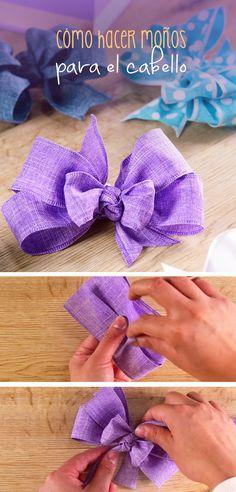Sigue este paso a paso de como hacer un moño para el cabello de una forma fácil y práctica que se puede utilizar como accesorio en el cabello o lo puedes poner sobre una diadema, te sorprenderá el resultado. Fabric Bows, Ribbon Bows, Ribbons, Gift Bows, Diy Hair Bows, Baby Head, Diy Accessories, Baby Bows, Hair Art
